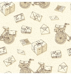 Seamless Pattern with Bicycles Envelopes Parcels vector image