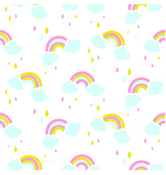 Seamless pattern with cute rainbow and vector