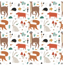 seamless pattern with cute scandinavian woodland vector image
