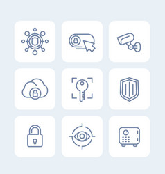 Security icons set secure server lock shield vector