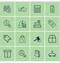 Set of 16 ecommerce icons includes withdraw money vector
