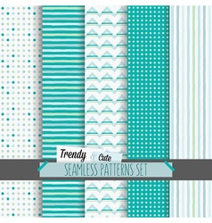 Set of cute white and blue seamless patterns set vector