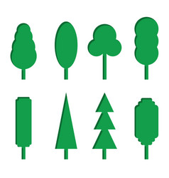 set of green paper tree icons vector image