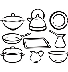 set of kitchen utensil vector image