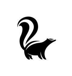 Skunk logo Black flat color simple elegant skunk vector