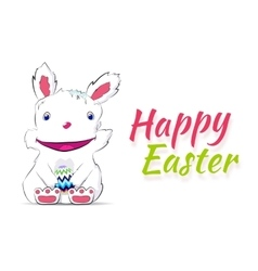 Smiling easter rabbit drawn by hand vector