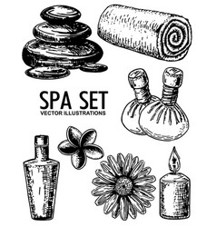 spa salon set ink hand drawn vector image
