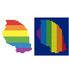 Spectrum pixel dotted tanzania map vector