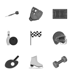 Sport and fitness set icons in monochrome style vector