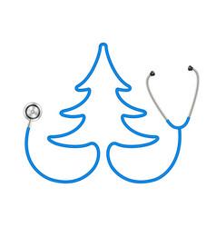 Stethoscope in shape tree in blue design vector