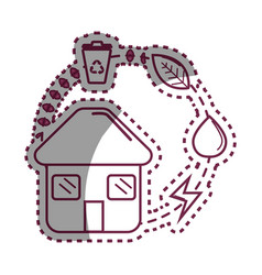 Sticker house with save energy water and recycle vector