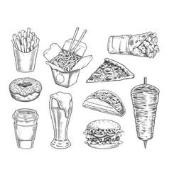 street food retro set vector image