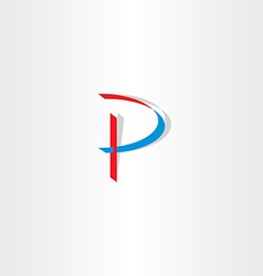 stylized letter p blue red icon logotype vector image