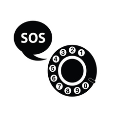 telephone sos black vector image