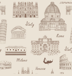 Travel europe background italy famous landmark vector