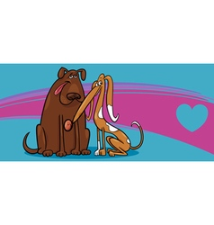 valentine card with dogs vector image
