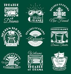 vintage theatre emblems labels badges vector image