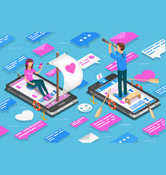 virtual relationships and online dating isometric vector image