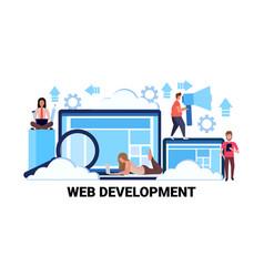 web development concept successful teamwork vector image
