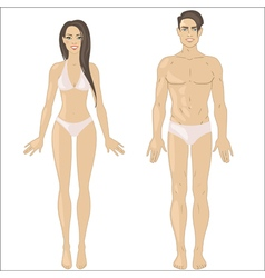 White woman and man in underwear vector image