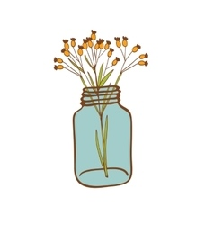 Wild flowers in a glass jar vector