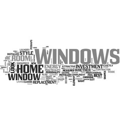 Windows a great investment text word cloud concept vector
