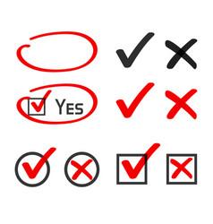 Yes no check box list marker ticks felt tip pen vector