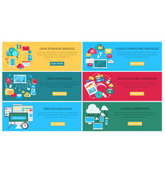 data storage service and web optimization poster vector image