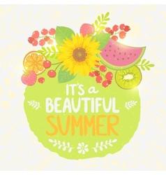 fruit summer label vector image vector image