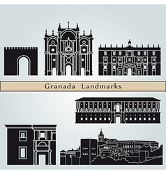 Granada landmarks and monuments vector image vector image