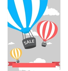 hot air balloon poster with sale vector image vector image