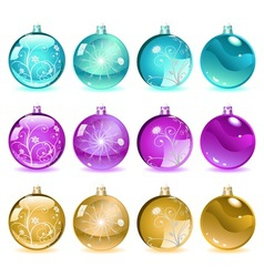 Multicolored Christmas balls Set 4 of 4 vector image