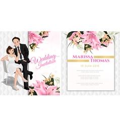 Wedding cartoon invitation card in luxury and mode vector image vector image
