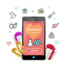 wedding planner concept mobile phone app vector image vector image