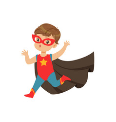 comic cute brave kid in superhero costume running vector image