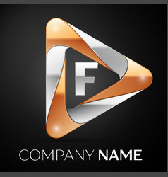 Letter f logo symbol in the colorful triangle on vector