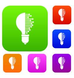 lightbulb with microcircuit set color collection vector image vector image