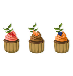 muffin cakes isolated on white background vector image