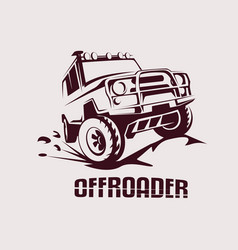 offroad suv car monochrome template for labels vector image vector image
