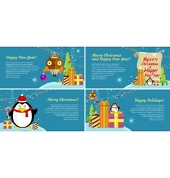 Set of web banners winter holiday celebration vector