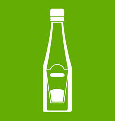 bottle of ketchup icon green vector image