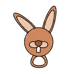 drawing rabbit face animal vector image