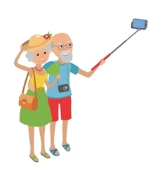 Senior couple makes selfie vector image