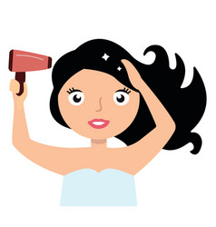 woman drying her hair with hairdryer vector image