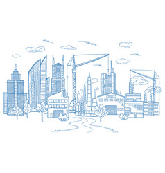 big city landscape with different buildings vector image