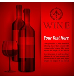 Bottles wine and glass on red vector image vector image