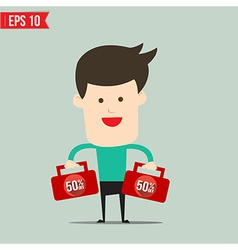 Businessman carry suitecase with 50 percent off - vector