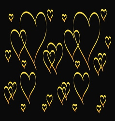 gold heart shape pattern vector image