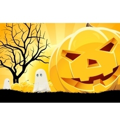 Halloween Background with Pumpkin and Ghost vector image