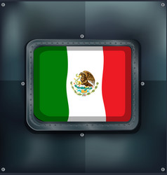 mexico flag in metal frame vector image vector image